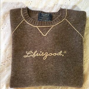 Life is Good Lambswool Crew Neck Sweater - Medium